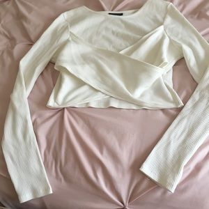 Topshop size small White Crossover Crop Top
